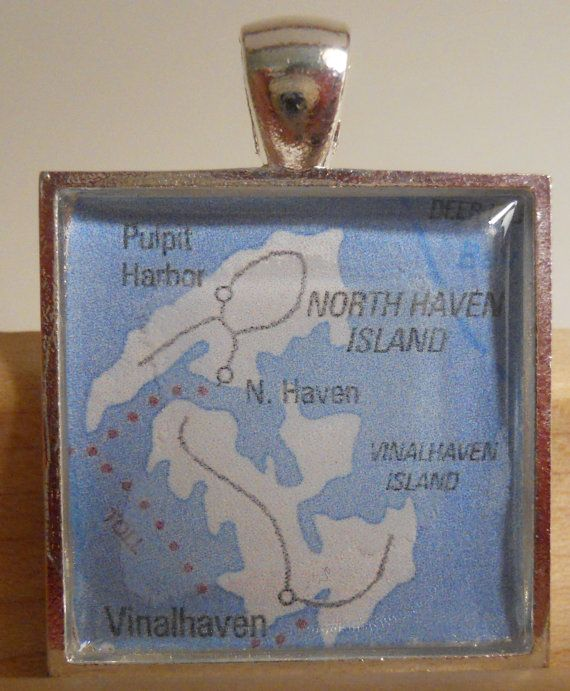 Vinalhaven Maine Map Pendant by MaineDaysDesigns on Etsy, $10.00