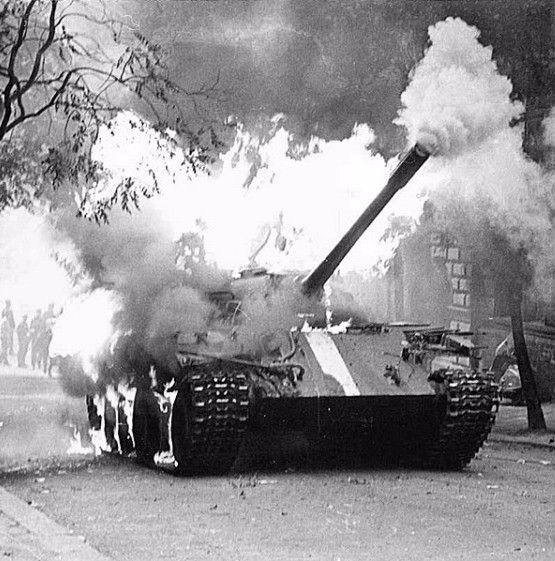 History of Czechia : Burning Soviet tank, 21st August.1968, when Czech unarmed civilians fought against Soviet army by Molotov cocktails ......