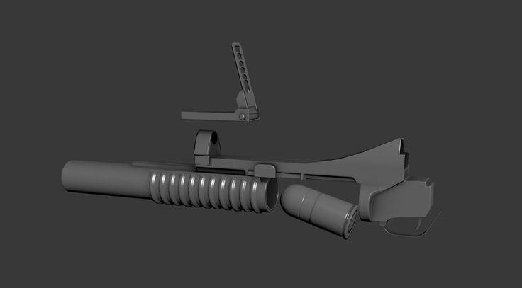 3D M203 Grenade Launcher Model - 3D Model