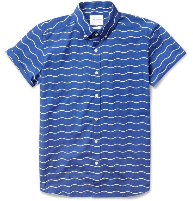 Saturdays Surf NYC Esquina Short-Sleeved Wave-Print Cotton Shirt - new and cool alternative to the usual stripes