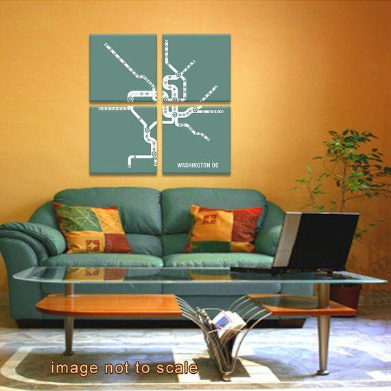 Washington DC Metro Subway Map4 Panel Canvas Giclee - Retro Teal and White