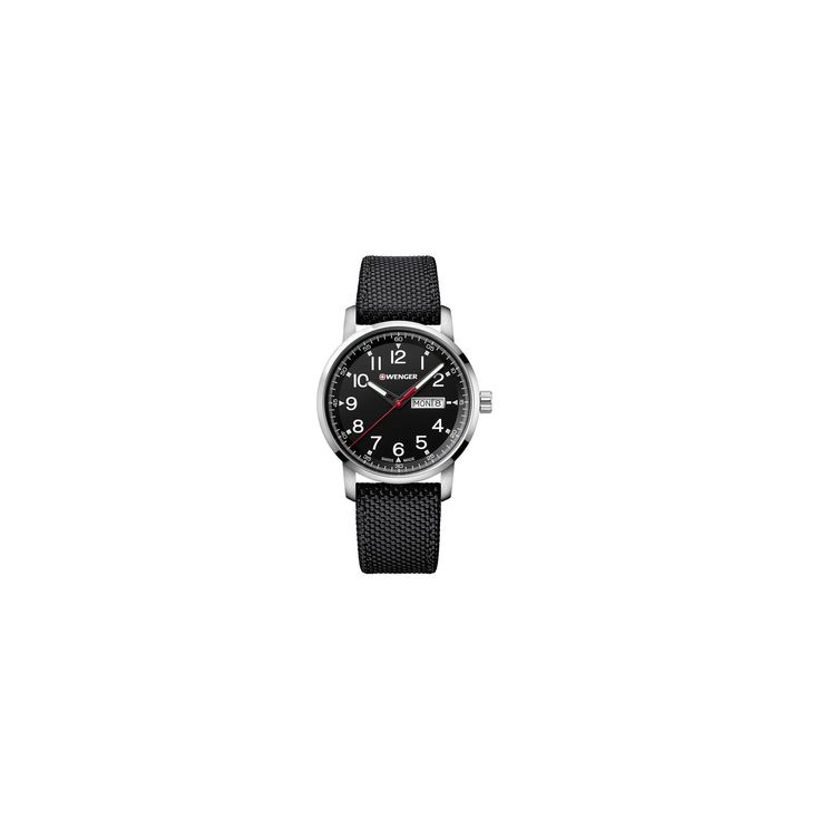 Men's Wenger Attitude Heritage Day/Date - Swiss Made - Black Dial Nylon Strap watch - Black, Size: Medium
