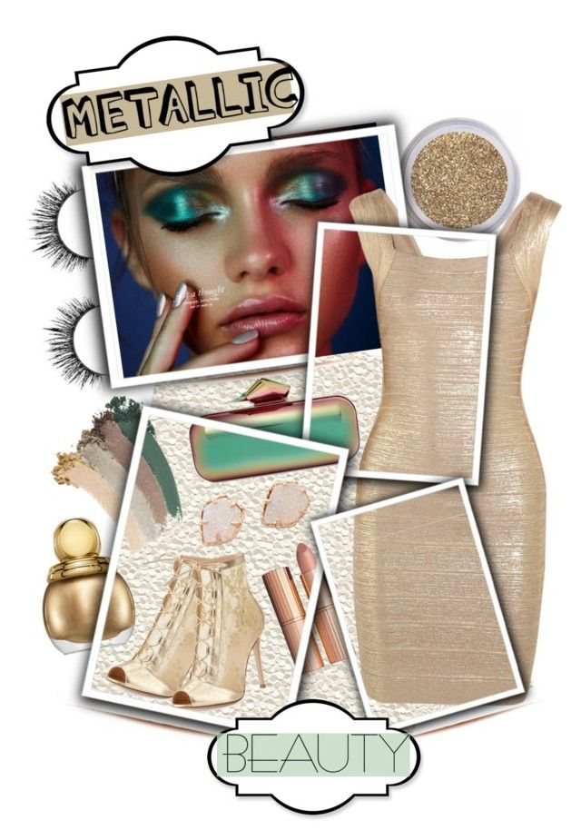"""Metallic Beauty"" by curvygirlamy ❤ liked on Polyvore featuring beauty, Material Girl, Hervé Léger, Jimmy Choo, Gianvito Rossi, Kendra Scott, Gucci, Christian Dior and Charlotte Tilbury"
