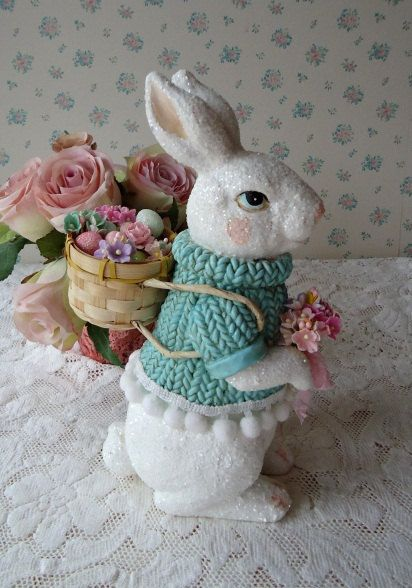 Shabby Easter Bunny - Basket of Eggs and Roses