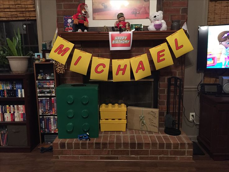We used his Lego Halloween costume as decoration for the party.