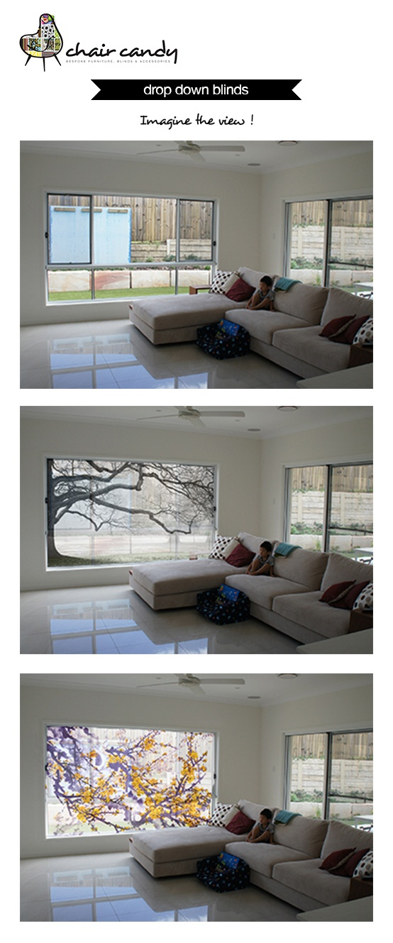 Enjoy a view? Discover how a drop down blind can transform your bed or living room into a home with a view! If you are not quite sure what an artwork or image on a blind would look like in your home, email us a good quality image of the room your considering and we can digitally install a blind in either sheer or block out with your choice of design. One of our QLD customers did exactly that and ended up ordering the golden cherry blossom sheer blind.