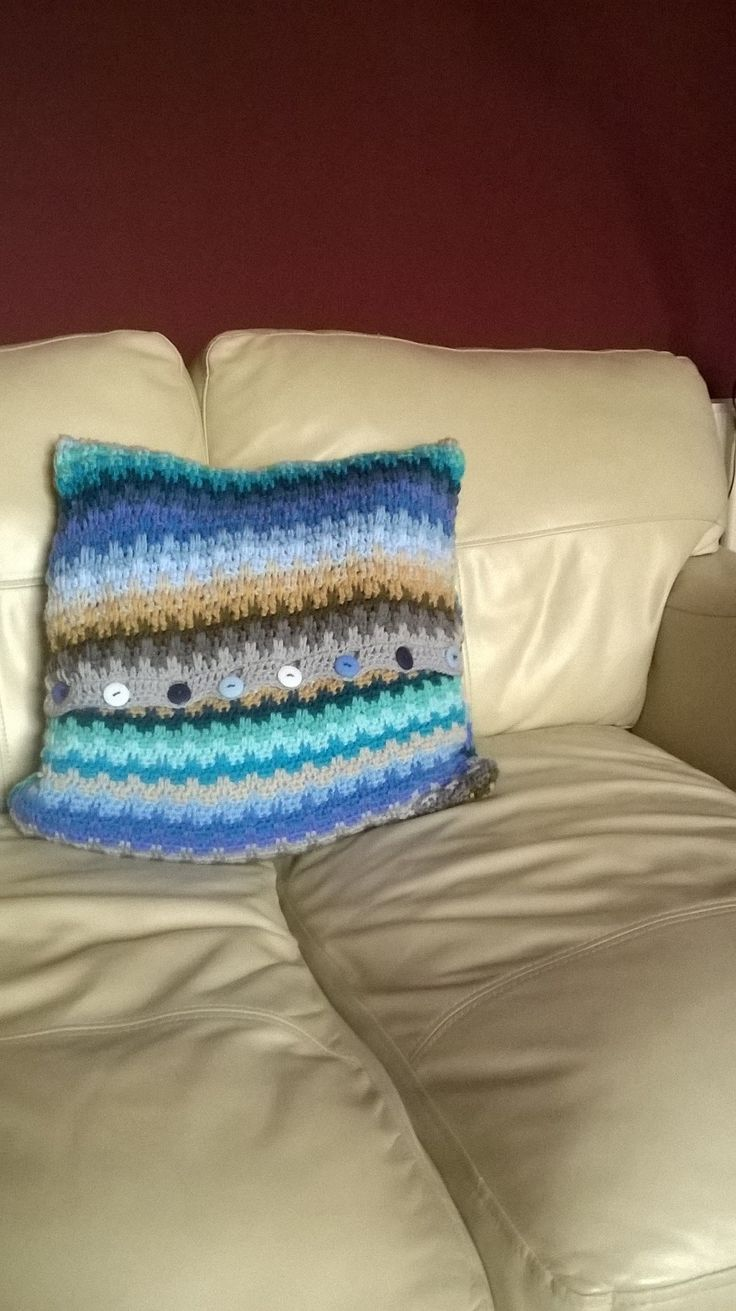 Cushion made from Attic24 raindrops pattern using the coastal pack.