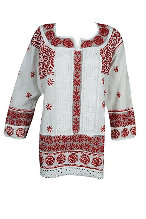 Mogul Womens Tunic Dress White Red Chikankari Embroidered Top Shirt  #embroideredtunic #festivaltop #fashionblouse