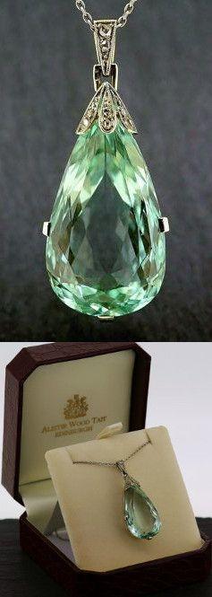 Antique Aquamarine Necklace - Belle Epoque Aquamarine & Diamond Platinum Pendant. Vintage item from the 1910s, Aquamarine, Platinum, 18ct White Gold.