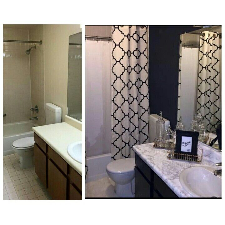 Before & after. Cabinet doors and counter top are CONTACT PAPER. I also like the extra curtain rod. Instagram bailzChokr