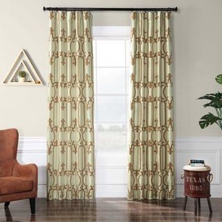 Exclusive Fabrics Royal Gate Sage & Amber Flocked Faux Silk Curtain Panel (50 X 96), Green