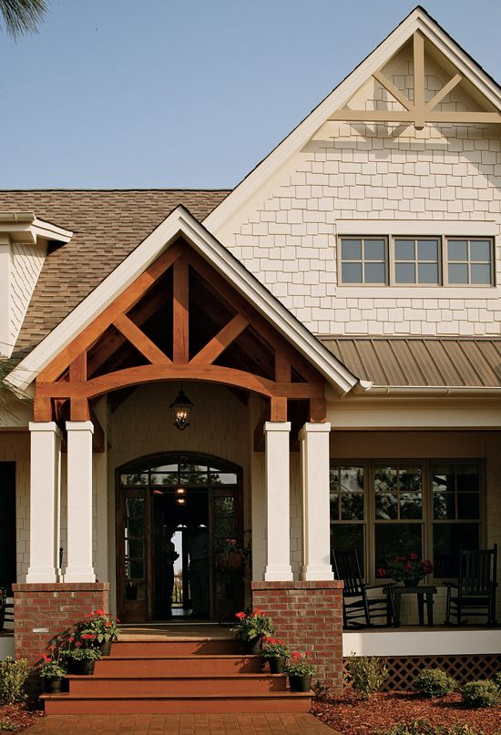 Award winning craftsman country home plan outdoor for Craftsman gable brackets
