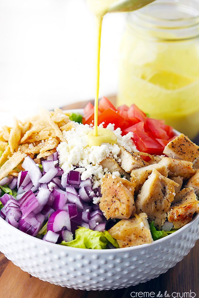 Honey Mustard Chicken Chopped Salad | http://lecremedelacrumb.com/