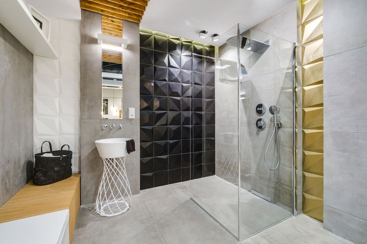 Ekspozycja Max-Fliz łazienka, łazienka modernistyczna, łazienka nowoczesna, umywalka ażurowa, płytki 3D, płytki czarne, płytki złote, płytki szare matowe, kabina prysznicowa, styl modern, styl nowoczesny. Łazienka Najwyższej jakości Płytki łazienkowe i kuchenne