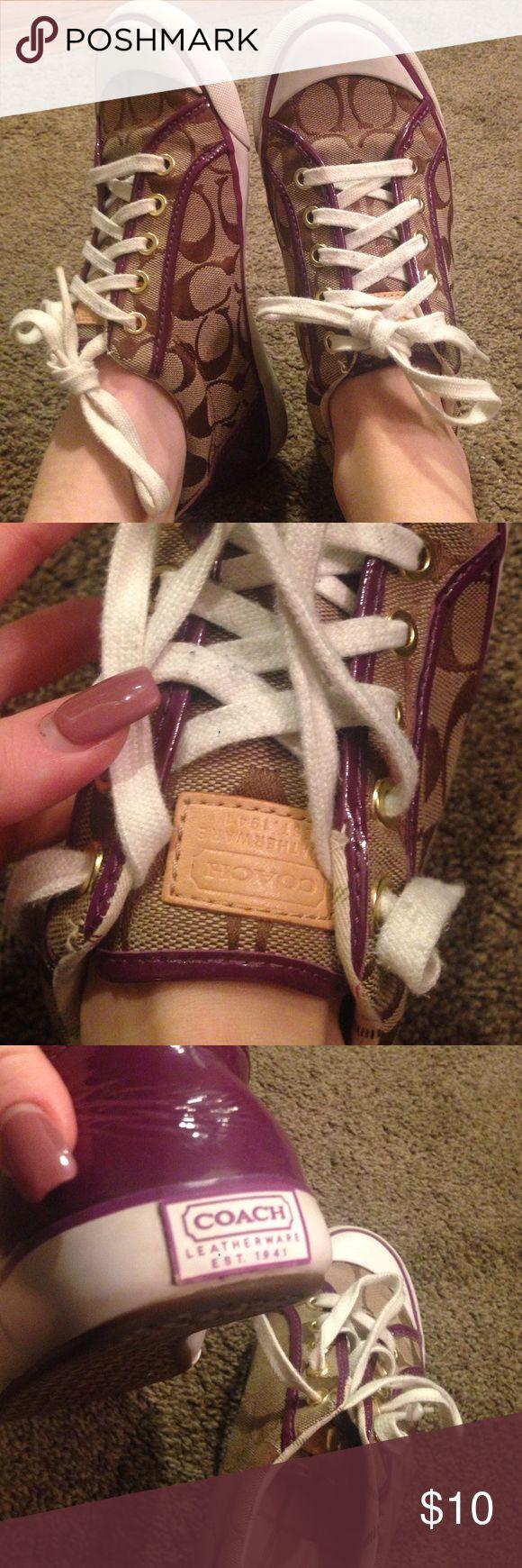 Purple coach tennis shoes size 7 Used- shows a little wear. authentic Coach tennis shoes Coach Shoes Sneakers