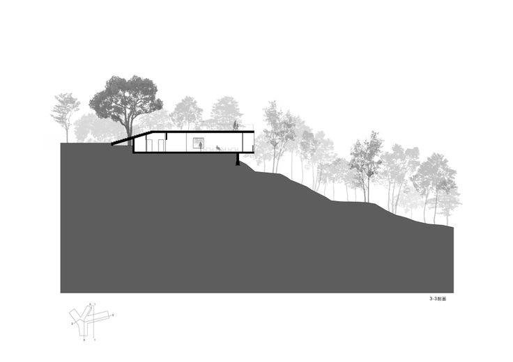 Section: Viewing Pavilion on Hill / TAO - Trace Architecture Office