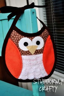 owl bib, could use blue rick rack instead of lace for boys