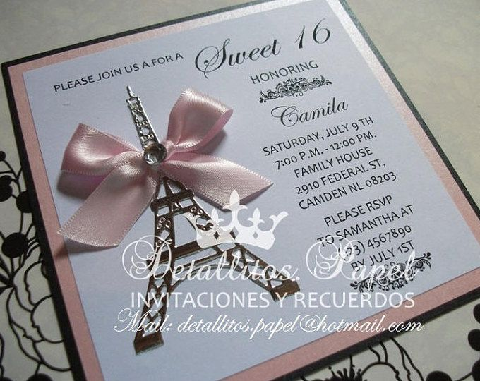 Quinceañera Invitation, Paris Invitation, Eiffel Invitation, Wedding Invitation, Baby shower invitation, Paris invitations