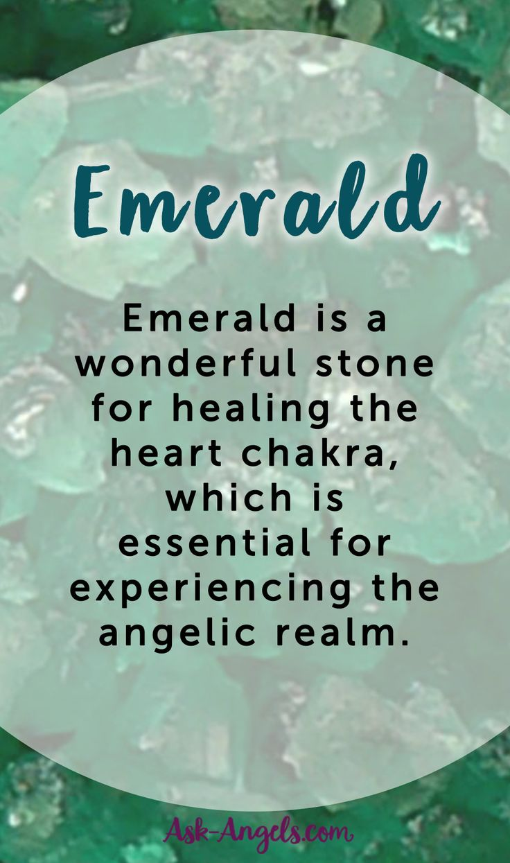 Emerald is a wonderful stone for healing the heart chakra, which is essential for experiencing the angelic realm.   #crystals #angels