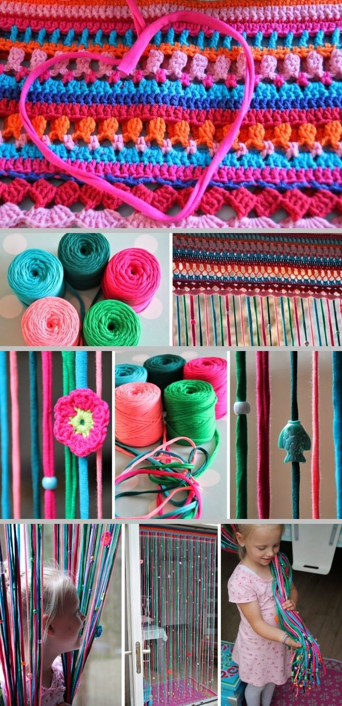 Fun Inspiration :: A colorful, pretty, & fun beaded curtain from the book Hooks & Colour on this Dutch blog. Lacy mixed-stitch header from worsted weight yarn, streamers from Zpaghetti yarn, personalize with your own embellishments.  No specific pattern given, but making one as you go would be so much fun  :-)   . . . .   ღTrish W ~ http://www.pinterest.com/trishw/  . . . . #crochet