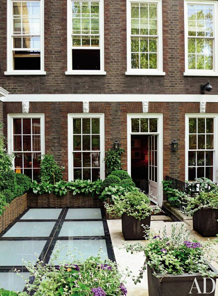 At Sting and Trudie Styler's London townhouse, a large skylight was installed to bring light to the lower level.