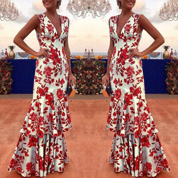 Floral Plunge Ruffles Layered Hem Evening Dress   bodycon dress bodycon dress ou…
