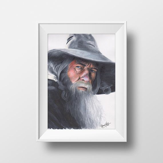 The Gray Wizard  Print  Gandalf Lord of the Rings by BrandiYorkArt