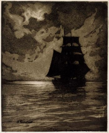 Albert Edelfelt, Ship in Moonlight, 1900-1905