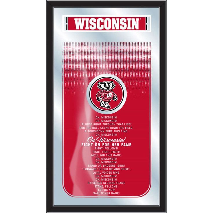 University of Wisconsin Badgers Fight Song Lyrics Wall Mirror