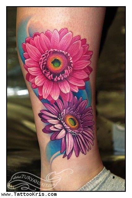 Photo Realistic Flower Tattoos Google Search: Daisy Flower Tattoos - Google Search