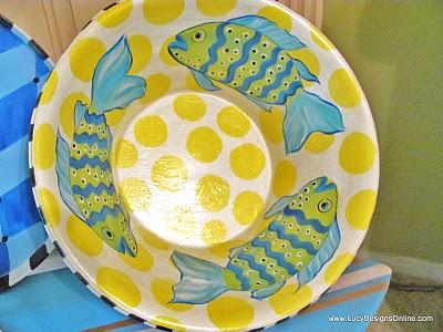bright polka-dotted fish serving bowl