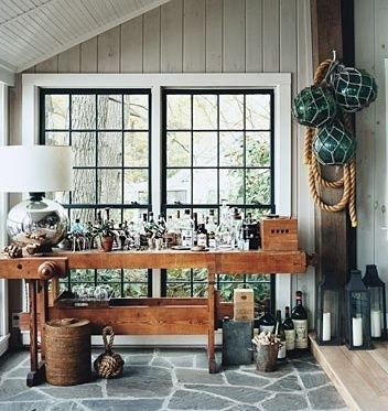 a bar of which to be proudDecor, Lakes House, Bar Tables, S'More Bar, S'Mores Bar, Black Windows, Home Bar, Thom Filicia, Bar Carts