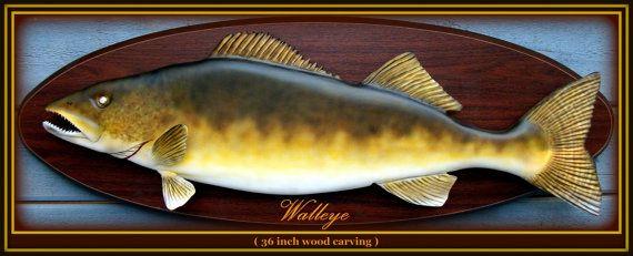 Walleye fish wood carving fishing art game