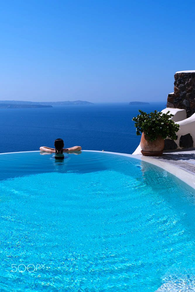 Pool summer, Santorini, Greece