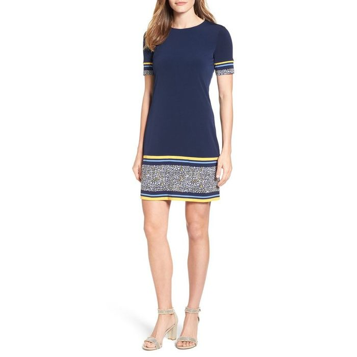 10 Best Spring Wear To Work Dresses - #2 MICHAEL Michael Kors Celia Border Print Shift Dress #rankandstyle