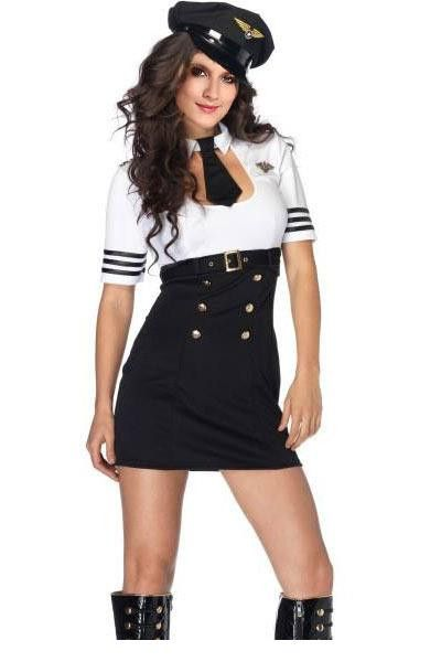 Sexy Pilot Captain Costume LC8846 Sex Products Sexy Halloween Costume for Women fantasia feminina Party Dress