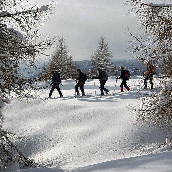 Sneeuwschoen wandelen tijdens een winterse incentive in het nationaal park van Hohe Tauern