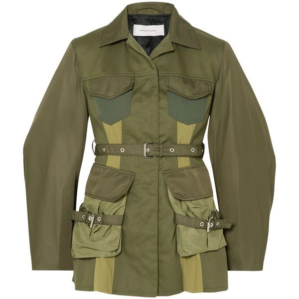 Marques' Almeida Paneled shell and drill jacket ($895) ❤ liked on Polyvore featuring outerwear, jackets, army green, olive green army jacket, green jacket, utility jackets, green army jacket and patch jacket