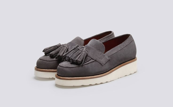 Grenson Shoes & Accessories | Clara Womens Loafer in Charcoal Suede on a White Wedge Sole - Three Quarter View