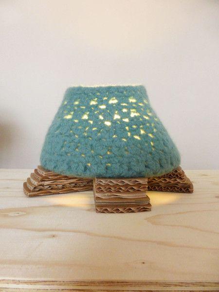 Wool Star Light ocean blue table lamp made of wool from Luuxoo by DaWanda.com