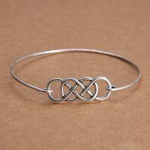 Duplo infinito minimalista Handmade fio charme pulseira bracelete de prata tibetano pulseira de metal mulheres homens idéias do presente da jóia(China (Mainland))