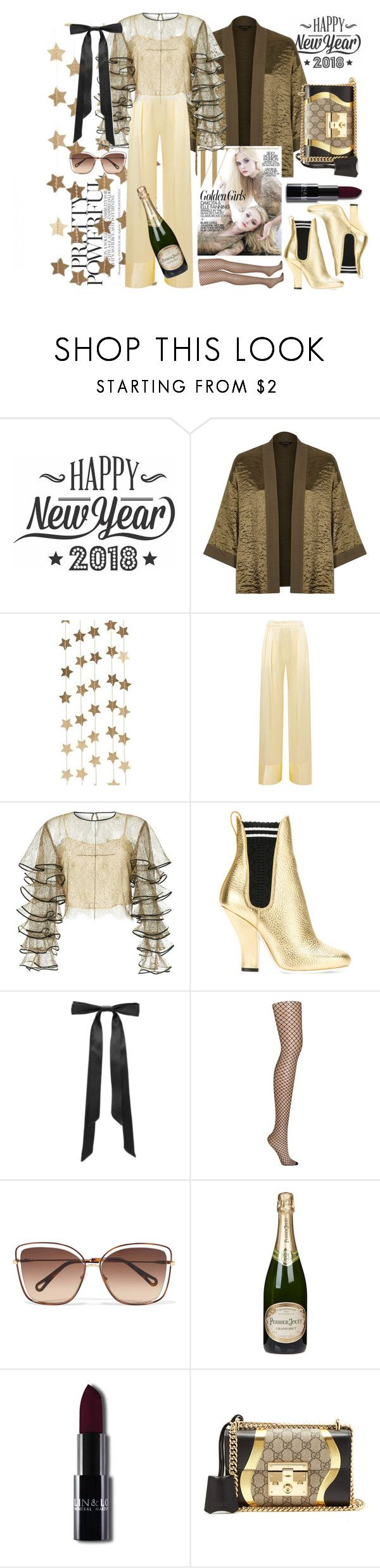 """""""Cause célèbre #PolyPresents: Trending #New Year's Bash #New Year's Day"""" by cigoehring ❤ liked on Polyvore featuring Cricut, River Island, Berylune, Michael Lo Sordo, HUISHAN ZHANG, Fendi, L. Erickson, DKNY, Chloé and Perrier-JouÃ«t"""