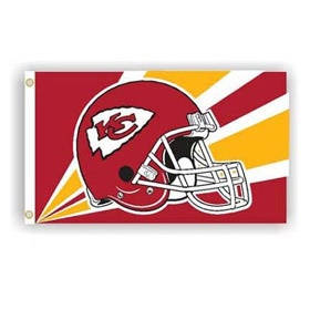 3' X 5'   Kansas City Chiefs Flag with Helmet Design    $29.99 Delivered | NFL Flags | Football