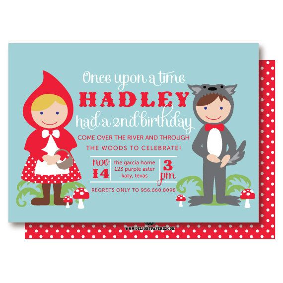 Little Red Riding Hood Fairy Tale Birthday Party Invitations. $20.00, via Etsy.