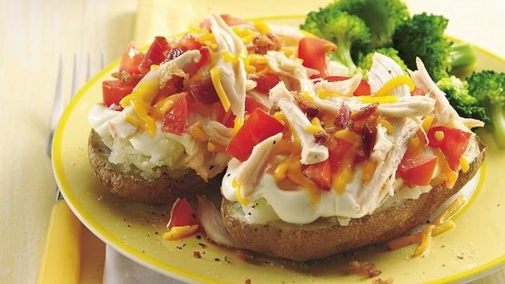 Make plain old potatoes into a crowd-pleasing meal with shredded rotisserie chicken, tomatoes and cheddar cheese.