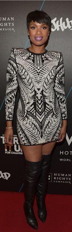 Black and white print long sleeve dress