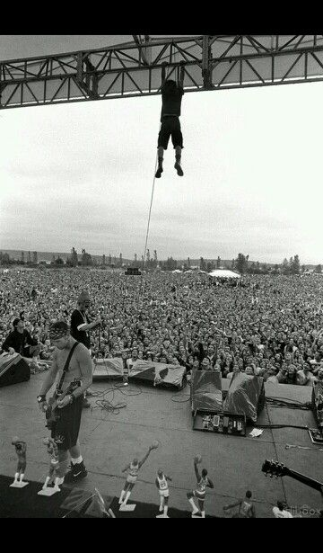 Pearl Jam I was at a concert where he did this, Lollapalooza Molson Park Barrie, ON 1992