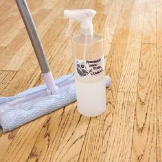 Homemade Wood-Floor Cleaner   POPSUGAR Smart Living 1/2 cup vinegar 1 tablespoon castile soap 1/4 cup rubbing alcohol 2 cups warm water Essential oil (optional)