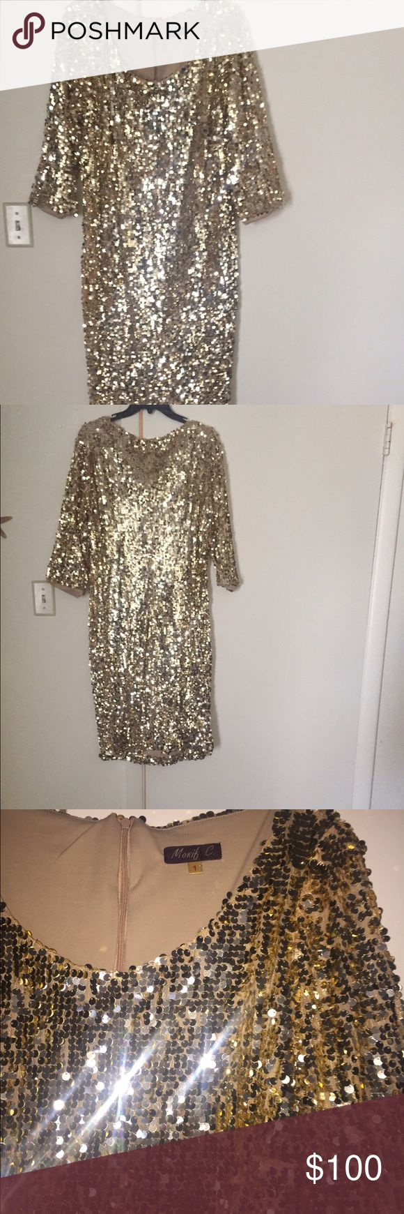 Monif C Sequin Plus Size Dress Good Condition!! Monif C dress!! Great for a night out on the town! Stops at the knee! Looking to sell Monif C. Dresses Long Sleeve