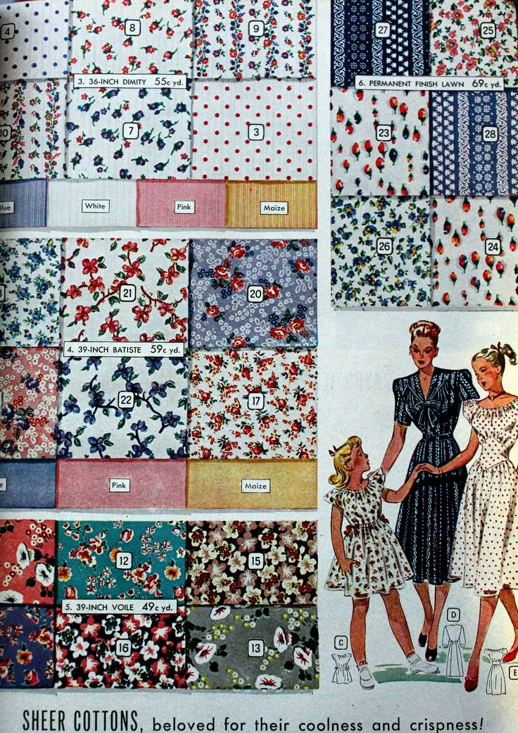 1044 best images about 1940s fashion on pinterest day for Fashion fabrics